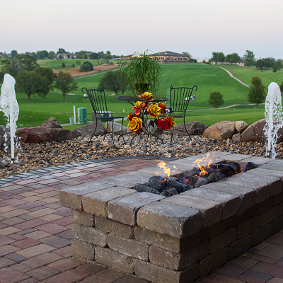 Firepit w/water feature.